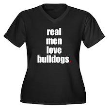Real Men love Bulldogs Women's Plus Size V-Neck Da