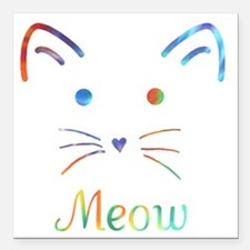 "Meow Square Car Magnet 3"" x 3"""