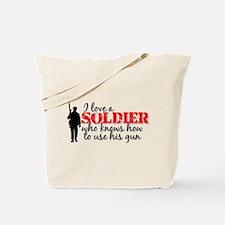 SOLDIER uses his gun Tote Bag