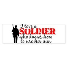 SOLDIER uses his gun Bumper Bumper Sticker