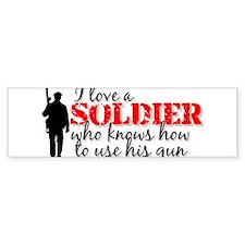 SOLDIER uses his gun Bumper Car Sticker