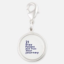 Awesome 21 Birthday Designs Silver Round Charm