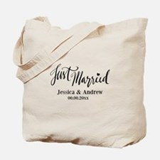 Just Married Classy Custom Wedding Canvas Tote Bag