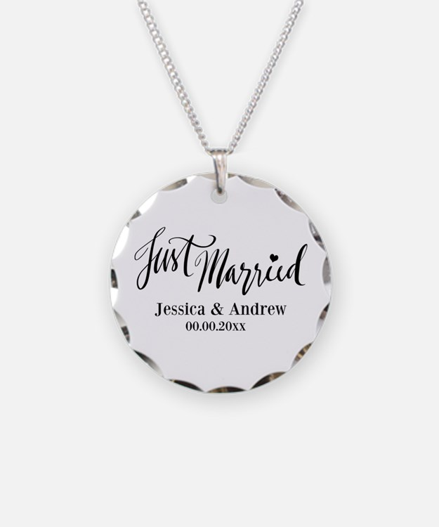 Just Married Calligraphy Necklace