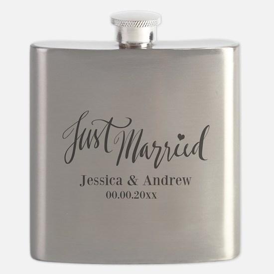 Just Married Script Typography Wedding Flask