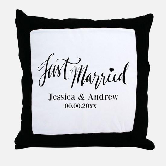 Just Married custom wedding Throw Pillow