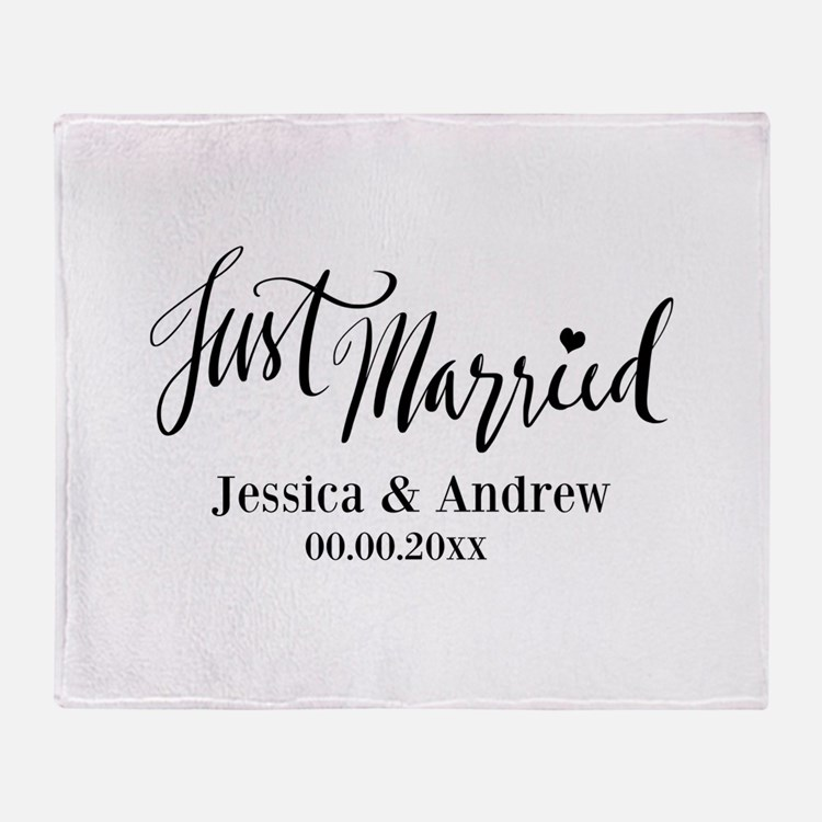 Just Married Personalized Wedding Throw Blanket