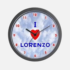 I Love Lorenzo (Red/Bl) Valentine Wall Clock
