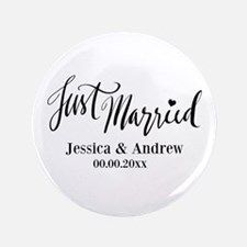 "Just Married custom wedding 3.5"" Button (100 pack)"