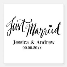 """Just Married custom wedding Square Car Magnet 3"""" x"""