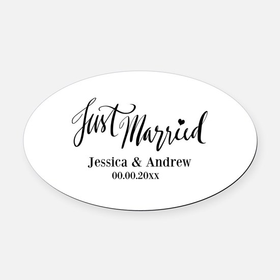 Just Married custom wedding Oval Car Magnet
