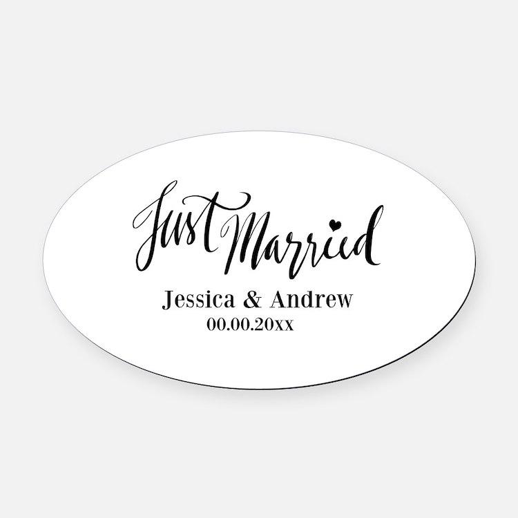 Just Married custom wedding Oval Car Magnet