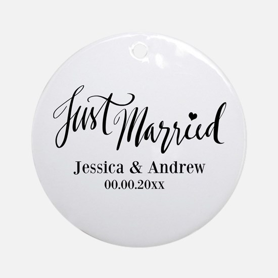 Just Married Custom Christmas Round Ornament