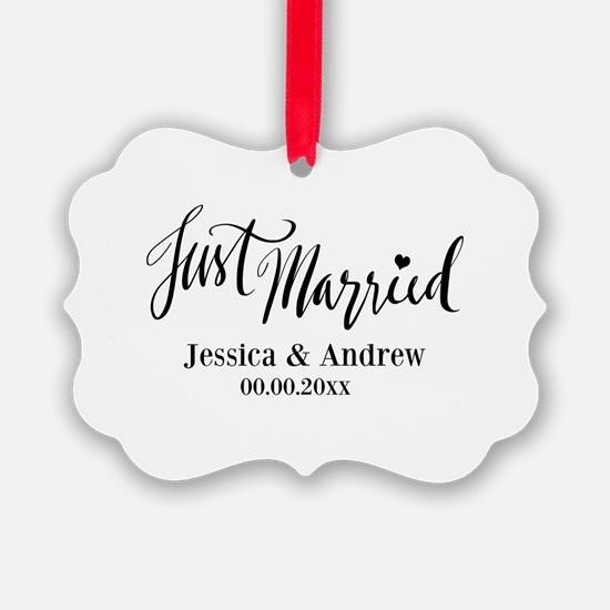 Just Married Wedding Christmas Ornament