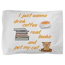 Coffee Books Cats Pillow Sham