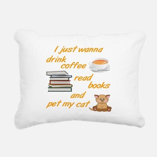 Coffee Books Cats Rectangular Canvas Pillow