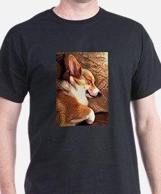 Sleepy Tricolor Corgi T-Shirt