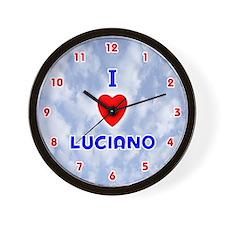I Love Luciano (Red/Bl) Valentine Wall Clock