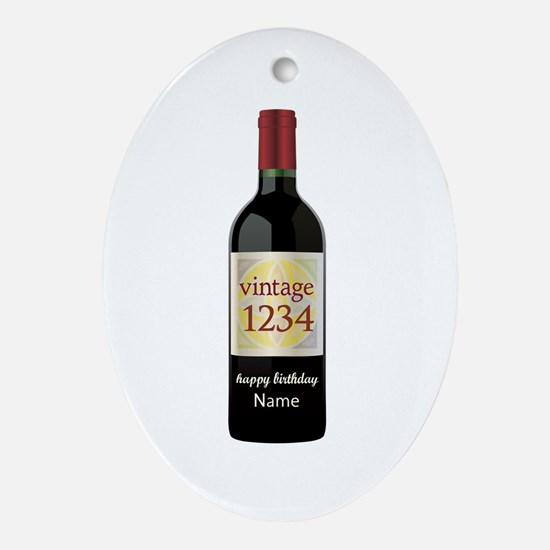 Custom Year and Name Wine Oval Ornament