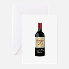 Custom Year and Name Wine Greeting Cards