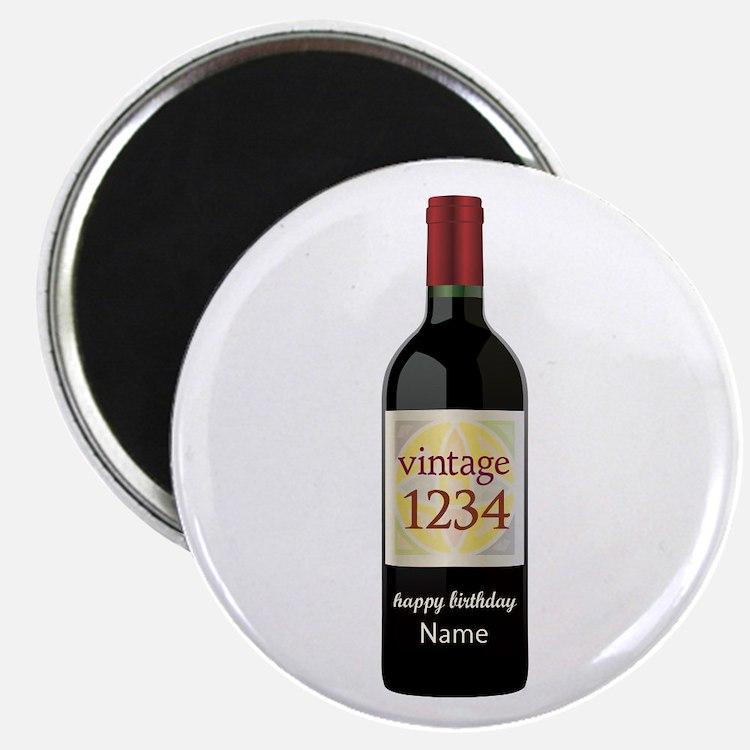 Custom Year and Name Wine Magnets