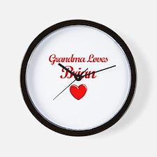 Grandma Loves Brian Wall Clock