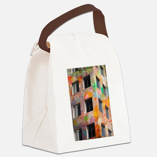 Painted Building Canvas Lunch Bag