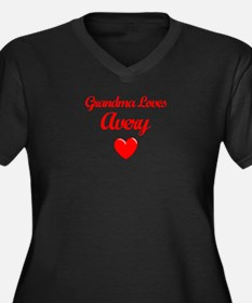 Grandma Loves Avery Women's Plus Size V-Neck Dark