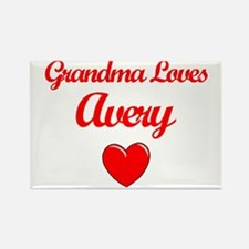 Grandma Loves Avery Rectangle Magnet
