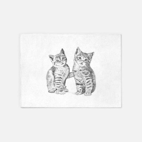 Tabby kittens 5'x7'Area Rug