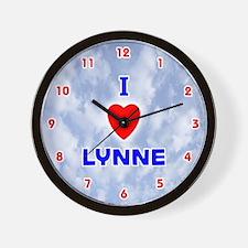 I Love Lynne (Red/Bl) Valentine Wall Clock