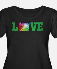 Love Oregon Rainbow Plus Size T-Shirt