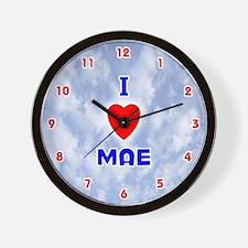 I Love Mae (Red/Bl) Valentine Wall Clock