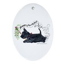 Scottish Terrier Birthday Dog Oval Ornament