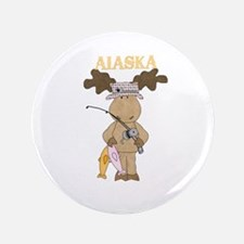 Alaska Moose Going Fishing Button