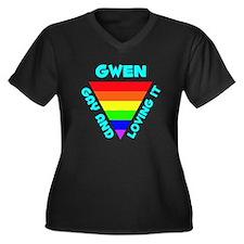 Gwen Gay Pride (#008) Women's Plus Size V-Neck Dar