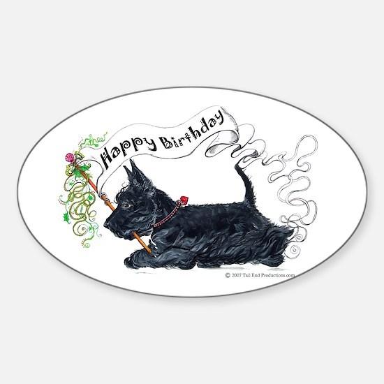 Scottish Terrier Birthday Dog Oval Decal