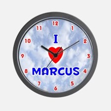 I Love Marcus (Red/Bl) Valentine Wall Clock