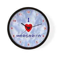 I Love Margarita (Red/Bl) Valentine Wall Clock