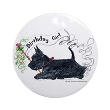 Scottie Girl Birthday Ornament (Round)