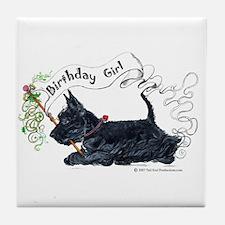 Scottie Girl Birthday Tile Coaster