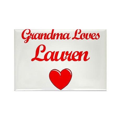 Grandma Loves Lauren Rectangle Magnet