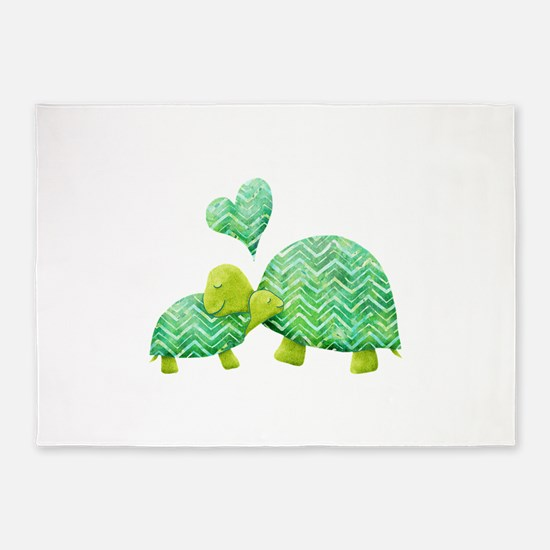 Turtle Hugs 5'x7'Area Rug