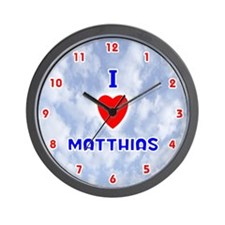 I Love Matthias (Red/Bl) Valentine Wall Clock