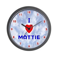 I Love Mattie (Red/Bl) Valentine Wall Clock