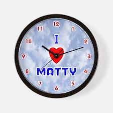 I Love Matty (Red/Bl) Valentine Wall Clock