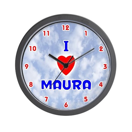 I Love Maura (Red/Bl) Valentine Wall Clock
