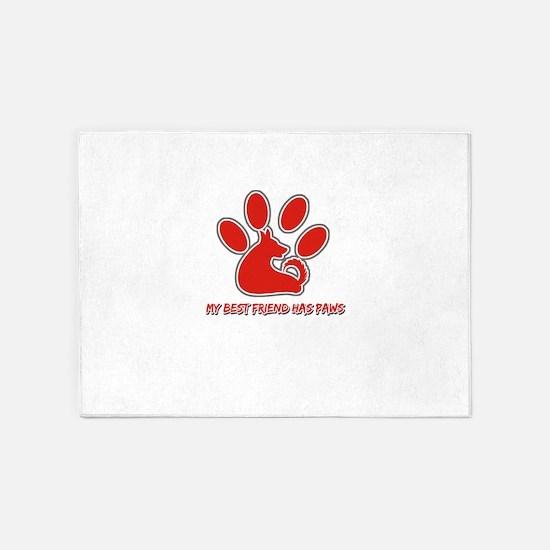 my best friend has paws 5'x7'Area Rug