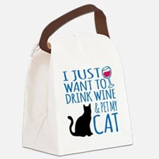 Drink Wine and Pet My Cat Canvas Lunch Bag