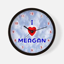 I Love Meagan (Red/Bl) Valentine Wall Clock